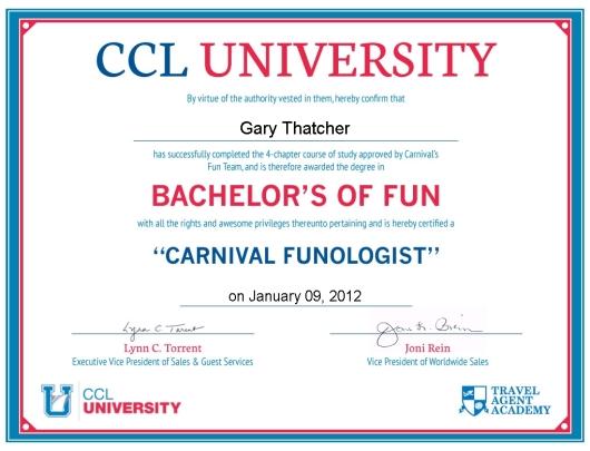 Carnival Certificate